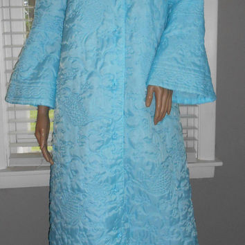 60s Quilted Robe / Mid Century Fashion Lingerie / Blue Bathrobe Flair Sleeve / Vintage Sleepwear / Lined Robe Crowley's
