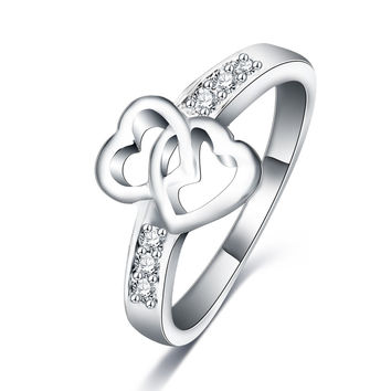 Size 7 Eternity Love Promise Rings For Women Real Platinum Plated Double Heart Wedding Engagement Ring CRI0047-B