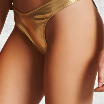 Metallic High-Leg Bikini Bottoms