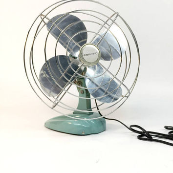 Antique Fan, Industrial Fan, Eskimo Fan, Desk Fan, Oscillating Fan, Vintage Desk Fan, Antique Industrial, Turquoise Desk Fan