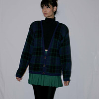 Vintage 80s School Girl Slouchy Sweater /Plaid Hipster Slouchy Sweater