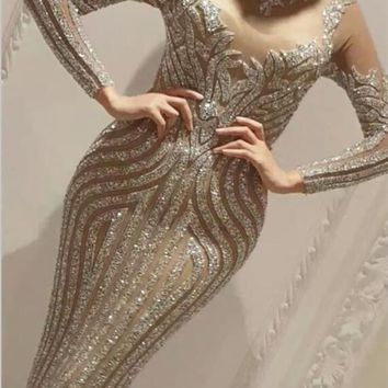 Sexy Sparkly Full Rhinestones Luxury Long Dress Birthday Dress Celebrate Outfit Costume Female Singer Party Dress Bling Wear