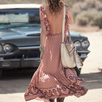 Sunset Road Frill Maxi Dress - Peach
