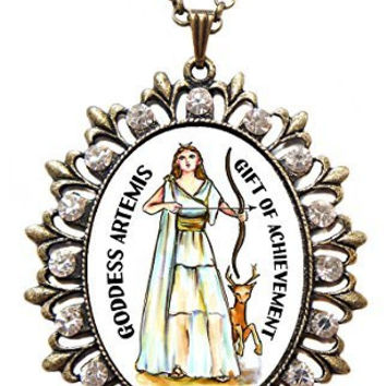 "Goddess Artemis Gift of Achievement Huge 2 1/2"" Antique Gold Bronze Medallion Rhinestone Pendant"