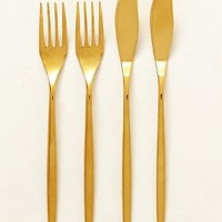 Doma Fish Flatware by Anthropologie in Gold Size: Set Of 4 Flatware