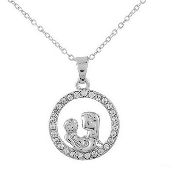 Mom and Baby Rhinestone Pendant Necklace by Baby in Motion