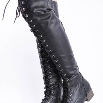 BLACK FAUX LEATHER LACE UP FLAT OVER THE KNEE RIDING BOOTS
