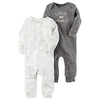 """carter's® 2-Pack """"Little Peanut"""" Babysoft Coveralls in Grey"""
