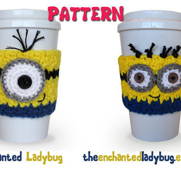PDF PATTERN: Crochet Minion Coffee Cup Cozies