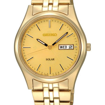 Seiko SNE036 Men's Champagne Dial Gold Tone Solar Watch