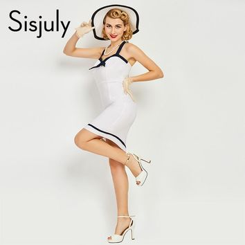 Sisjuly women vintage bodycon dress sexy nautical style 1950s 50s summer white dress pencil sheath club bowknot bodycon dresses
