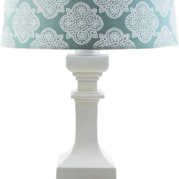 Carolina Outdoor Table Lamp White Aqua Print