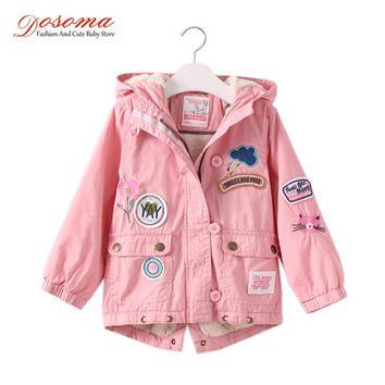 Dosoma Jacket For Girls Autumn Winter Embroidery Flower Cartoon Smile Children's Hooded Coats Lamb Velvet Kids Padded Jacket