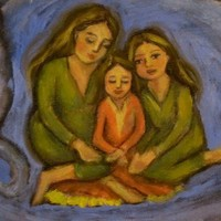 Cat Art - Original Oil Blue Cheshire - Mother and Daughters