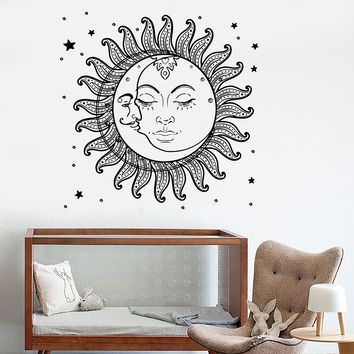 Vinyl Wall Decal Sun Moon Stars Bedroom Kids Room Stickers Mural (ig3511)