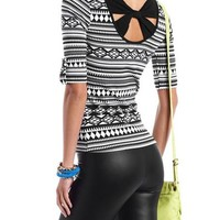 Bow-Back Roll-Cuff Aztec Top: Charlotte Russe