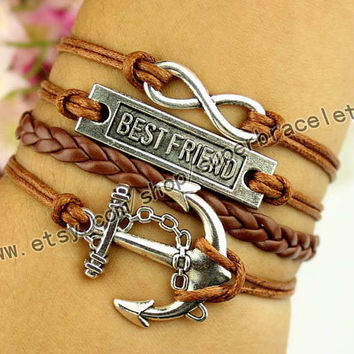 Anchor bracelet, best friend bracelet, infinity bracelet, ancient silver charm, brown leather cord, personalization, girlfriend and BFF
