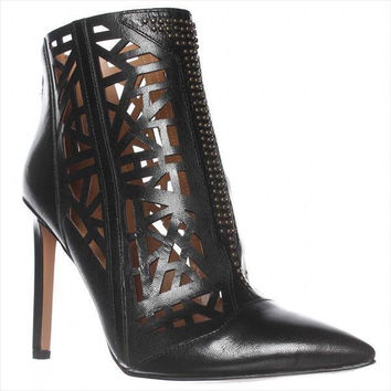 Nine West Toocute Cut-Out Pointed Toe Ankle Boots - Black