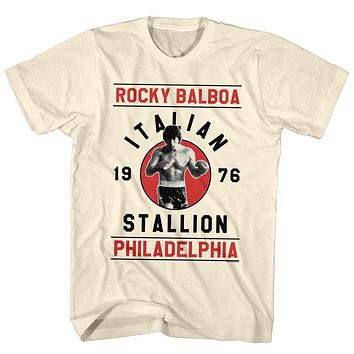 Rocky T-Shirt 1976 Italian Stallion Red Poster Natural Tee