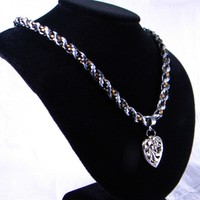 Kumihimo Braided Cord Necklace with Silver Heart
