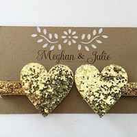 GOLD Glitter Hearts Hair Clips, Golden Valentine's Day Hair Clips, Girls GOLD Sparkly Hearts Hair Clips Meghan and Julie, Baby Hair Clips