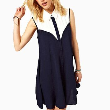 Summer Women Sleeveless Chiffon Blouse Dress Ladies Fashion Patchwork Lapel Long Shirts Overalls Blusas Remeras Mujer Casual
