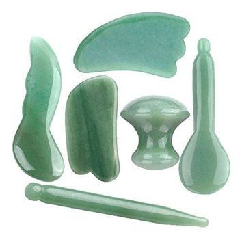 6pcs Gua Sha Scraping Massage Full Tools Kit, 100% Handmade Natural Ultra Smooth Green
