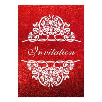 Red, white rose motif with ribbons wedding invitations from Zazzle.com