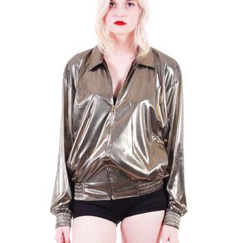 90s Vintage Gold Metallic Jacket Shiny Wet Look Disco Club Shiny Futuristic Y2K Made in the USA Clothing Womens Size Small Medium