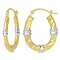 10k 2 Tone White And Yellow Gold Swirl Texture Oval Hoop Earrings, Diameter 20mm