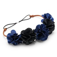 Mudd Oversized Floral Headpiece (Blue)