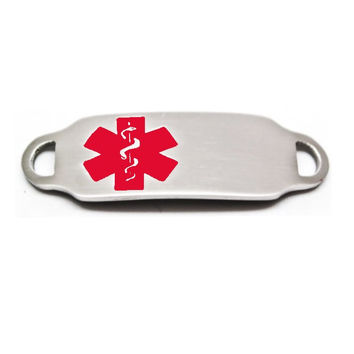 Engraved Stainless Steel Rectangle Medical Bracelet ID Tag - Red