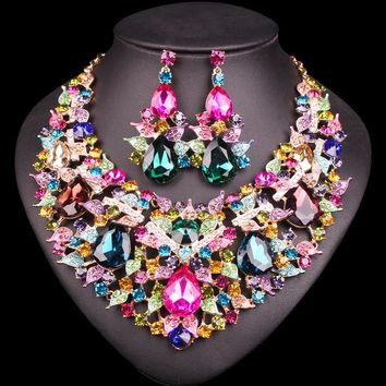Beautiful Leaf Indian Jewellery Bridal Jewelry Sets Rhinestone P 802c8defa43f