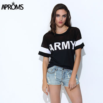 Aproms Korean Harajuku T Shirt Women 2017 Casual Black Mesh Punk Rock ARMY Print T-Shirts Female Kawaii Tops for Women Clothing