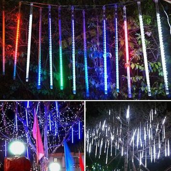 144 LED Meteor Shower Falling Rain Drop Icicle Snow Fall Xmas Tree String Light Romantic