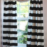 "3"" Black and White Horizontal Stripe Curtain Panels"