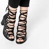 Free People Pember Black Lace Up Heeled Sandals