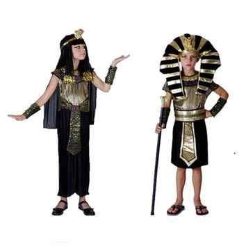 Kids Girls Boys Egyptian Pharaoh Costume Halloween Party Cosplay Clothing For Children Fancy Dress
