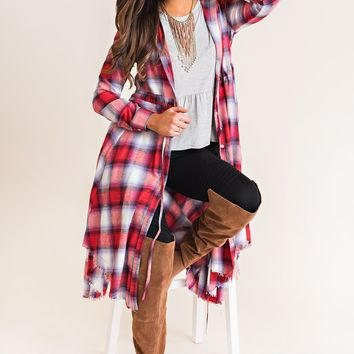 Matty Flannel Duster Cardigan Dress (Red)