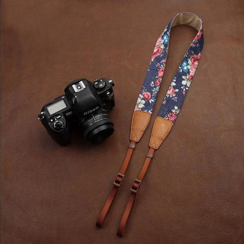 Blue Cowboy Flower  Handmade Leather Camera Strap Brown 7134