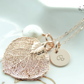Rose Gold Leaf Pendant Long Genuine Rose Gold Leaf Jewelry Statement Necklace 14k Rose Gold Necklace Christmas Gift Bridesmaid Gift
