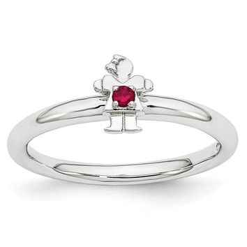 Rhodium Plated Sterling Silver Stackable Created Ruby 7mm Girl Ring