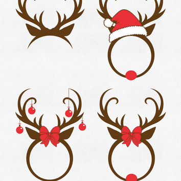 Christmas Reindeer Svg Antlers Monogram Svg Cricut Christmas svg files Cut Designs Rudolph Red Nosed Reindeer Svg Silhouette dxf clipart png