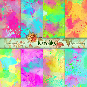 Digital Watercolor Paper Textures, Watercolor Backgrounds, Green, Blue, Pink, Digital Textures, Watercolor Backgrounds,  K-10