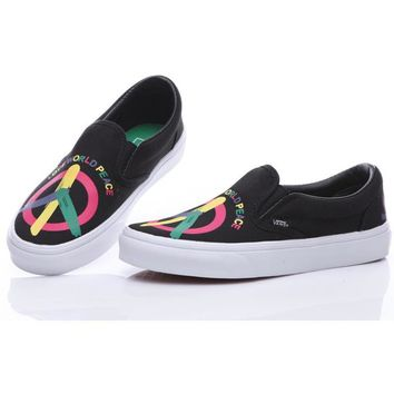 Vans Peace And Love Black Slip-On Old Skool Canvas Flats Sneakers Sport Shoes