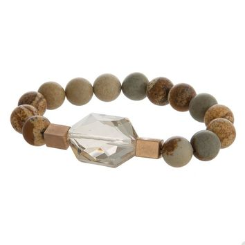 Gemstone Bracelet - Brown Picture Jasper