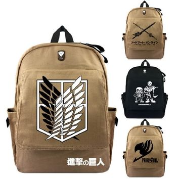 Cool Attack on Titan High Q new arrival Anime  Fairy tail Tokyo Ghoul Sword art online Naruto One piece Undertale backpack school bag AT_90_11