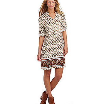 Freeway Printed Sheath Dress - Taupe/Orange