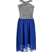 Xtraordinary 7-16 Striped-Crisscross-Bodice Solid-Skirted Dress | Dillard's Mobile