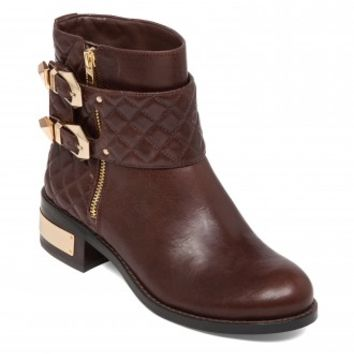 Vince Camuto Winta Quilted Motorcycle Boot in Burly Brown